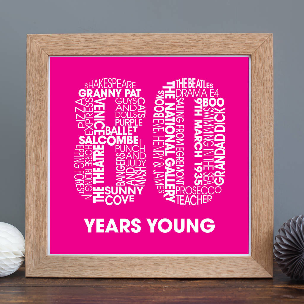 80th Birthday Print With Lots Of Personalised Words