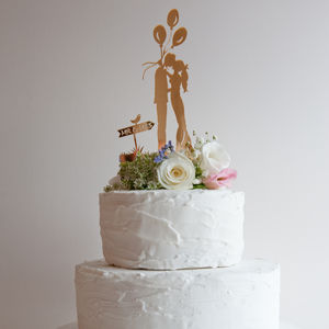 Wedding Cake Topper Gold Miror Boho Bride - cake toppers & decorations