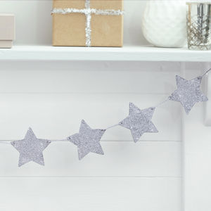 Silver Glitter Wooden Star Bunting Decoration