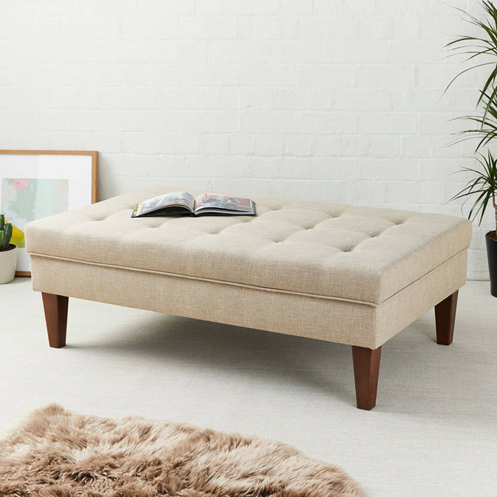 Shallow Buttoned Coffee Table Stool