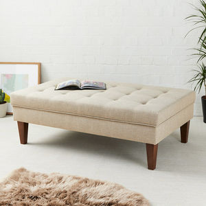 Shallow Buttoned Coffee Table Stool - living room