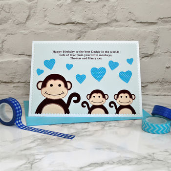 'Little Monkeys' Daddy Birthday Card From Children