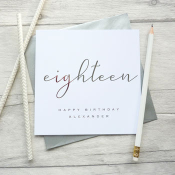 18th Birthday Personalised Foil Printed Card