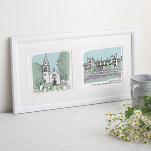 Double House Or Venue Portrait - drawings & illustrations