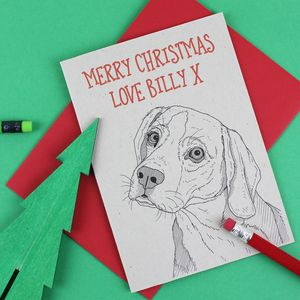 Beagle Dog Christmas Card