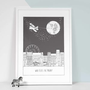 'Who Flies The Moon' Children's Nursery Print