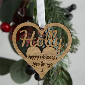 Personalised Christmas Heart Bauble Decoration