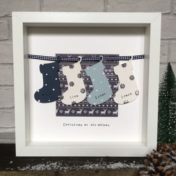 Personalised Christmas Family Reindeer Stockings Frame
