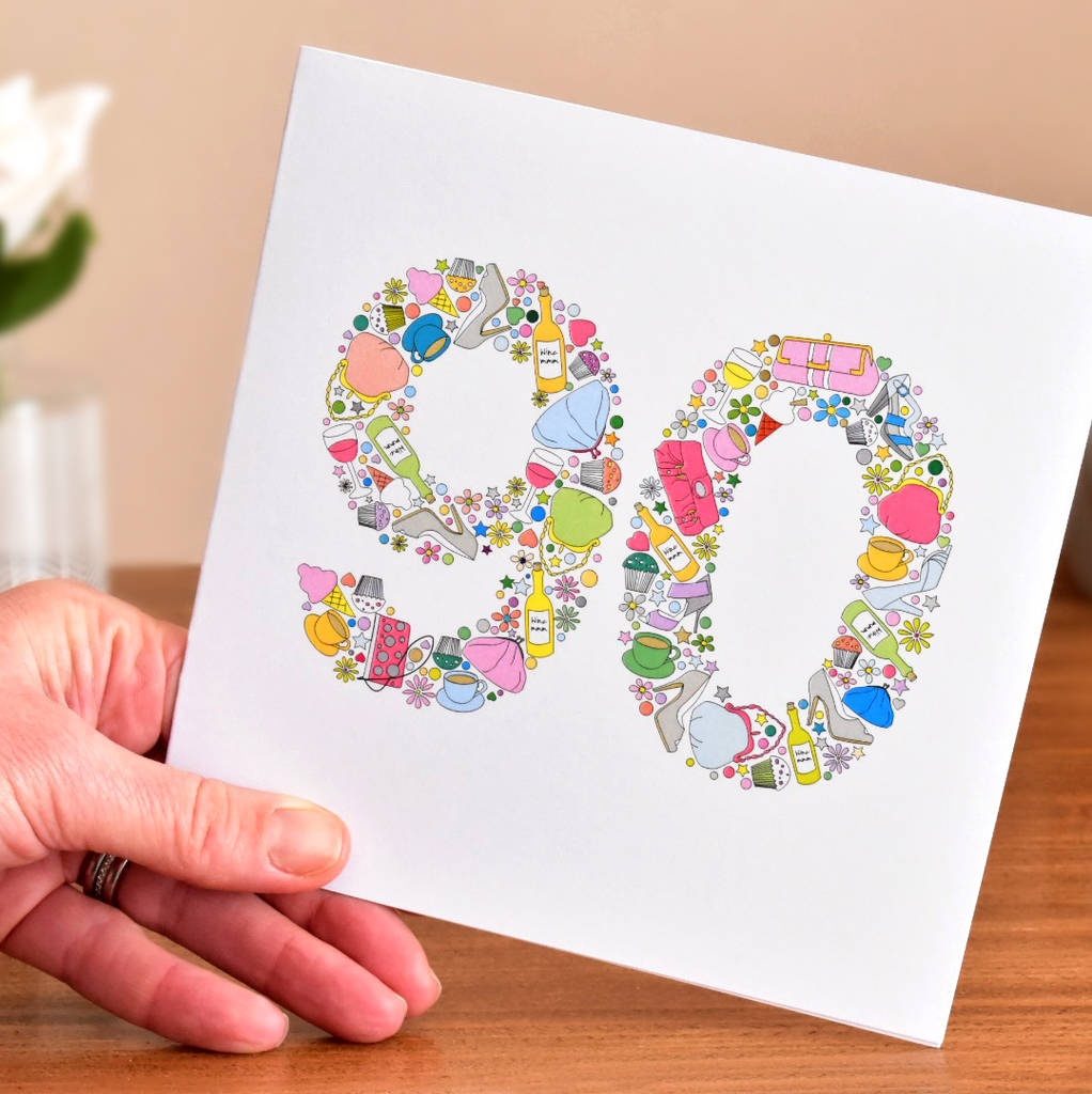 90th Birthday Card For Female Relatives Mum Granny Grandma Sister