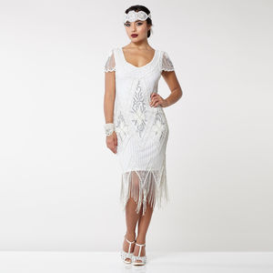 Gatsbylady Annette Fringe Flapper Dress In White Silver - wedding dresses
