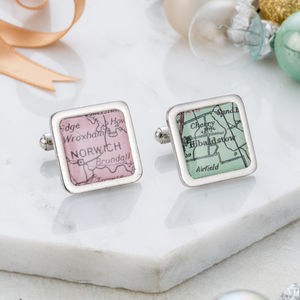 Personalised Vintage Map Cufflinks - 80th birthday gifts