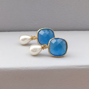 Azure Pearl Drop Earrings