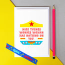 Personalised Wonder Woman 'Thank You Teacher' Card