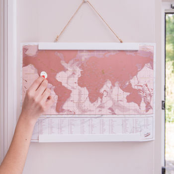 Framed Metallic Rose Scratch Map
