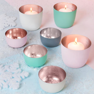 Pastel And Rose Gold Votive Holders - tableware