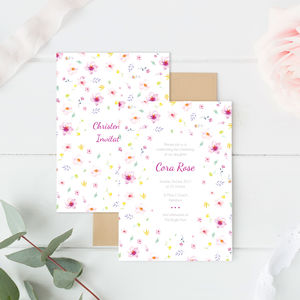 Personalised Floral Christening Baby Shower Invitation