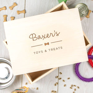 Personalised Pet / Dog Wooden Treat Box - treats & food