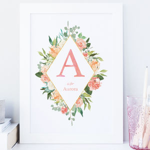 Personalised Floral Initial Name Nursery Print - newborn