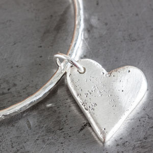 Personalised Large Heart Charm Hammered Bangle