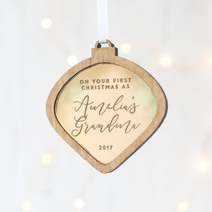 'First Christmas As A Grandparent' Personalised Bauble