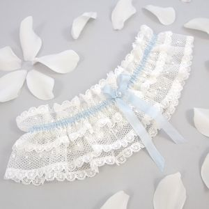 Lace Wedding Garter With Blue Silk Bow/ Chloe - women's fashion
