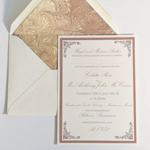 Traditional Marble Wedding Invitation