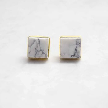 Marble Gemstone Stud Earrings