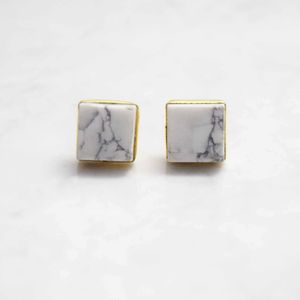 Marble Gemstone Stud Earrings - earrings