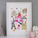 Personalised Paris Landmark Papercut Print