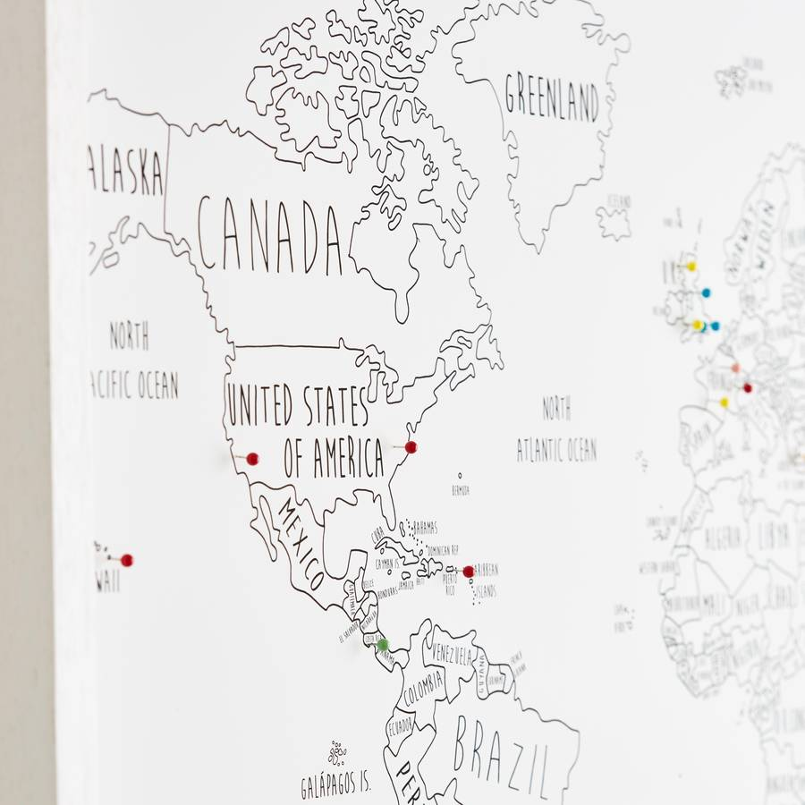 personalised world travel map with pins by louisa elizabeth – Maps To Pin Your Travels