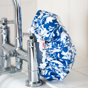 Waterproof Shower Cap In Blue Tropical Print - bathroom