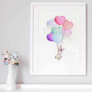 Personalised Heart Balloon Bunch Nursery Print - new baby gifts