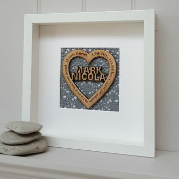 Lace Anniversary Personalised Oak Heart
