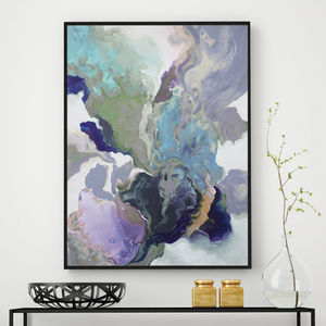'Ebony Swirl' Framed Giclée Abstract Canvas Print Art