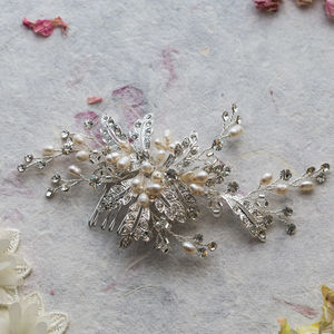 Ophelia Crystal And Pearl Hair Comb - fashion sale