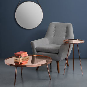 Retro High Gloss Copper Side Table And Coffee Table - living room