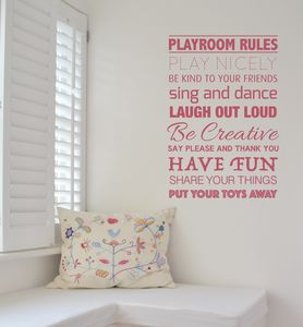 Playroom Rules Wall Sticker - decorative accessories