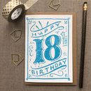 18th Birthday 18th Card Blue Chalk