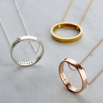 Personalised Thread Through Circle Necklace