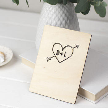 Personalised Wooden Heart Card