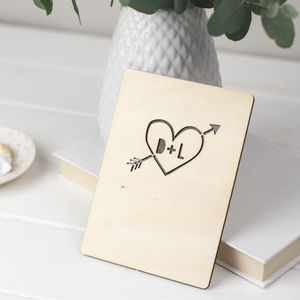 Personalised Wooden Heart Card - cards & wrap