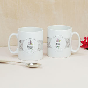 Personalised Wedding 'Mr And Mrs' Wildflower Mugs