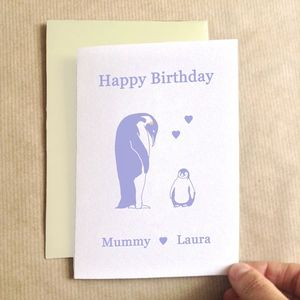 Personalised Birthday Penguins Birthday Card - mother's day cards