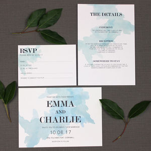 Watercolour Spill Wedding Invitation - wedding stationery