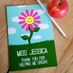 Teacher Thank You For Helping Me Grow Card A5