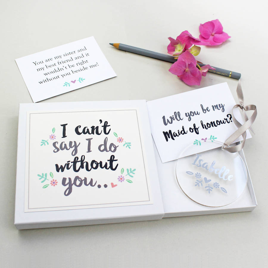 Will You Be My Maid Of Honour Keepsake Gift By Martha Brook