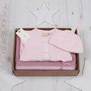 Baby Girls Babygro, Hat And Spot Blanket Set