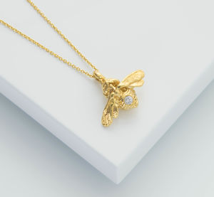 Gold Bumble Bee With White Sapphire Necklace