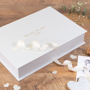 Personalised Wedding Keepsake Box Classic Linen