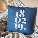 Denim Or Monochrome Personalised Date Cushion